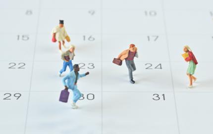 Kleine mensjes op kalender