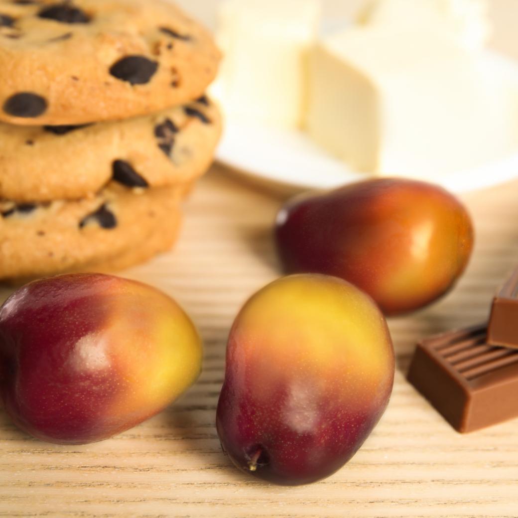 Palmolie vrucht, koekjes en chocolade